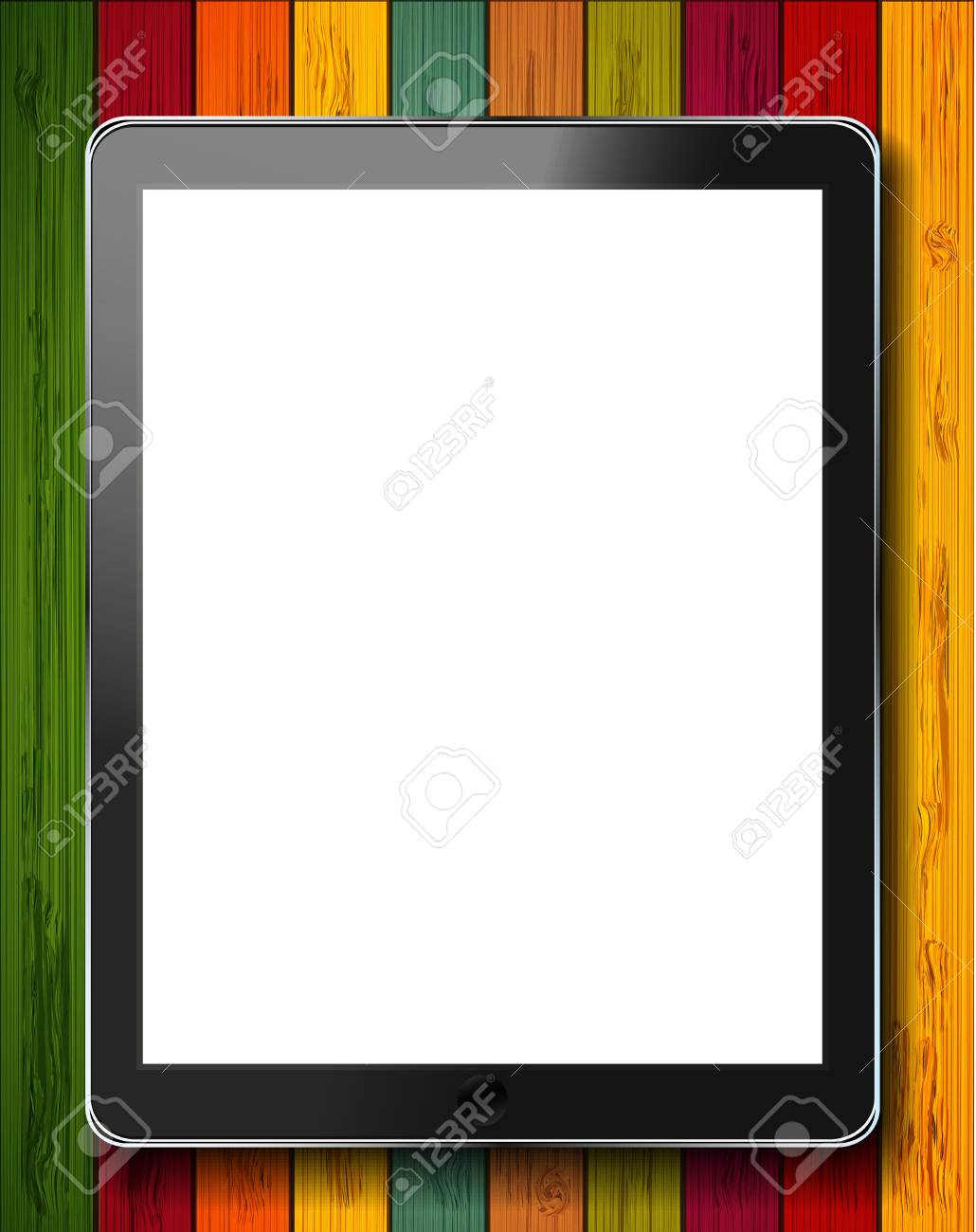 vector realistic computer tablet on colorful wooden background. Eps10 Stock Vector - 15709587