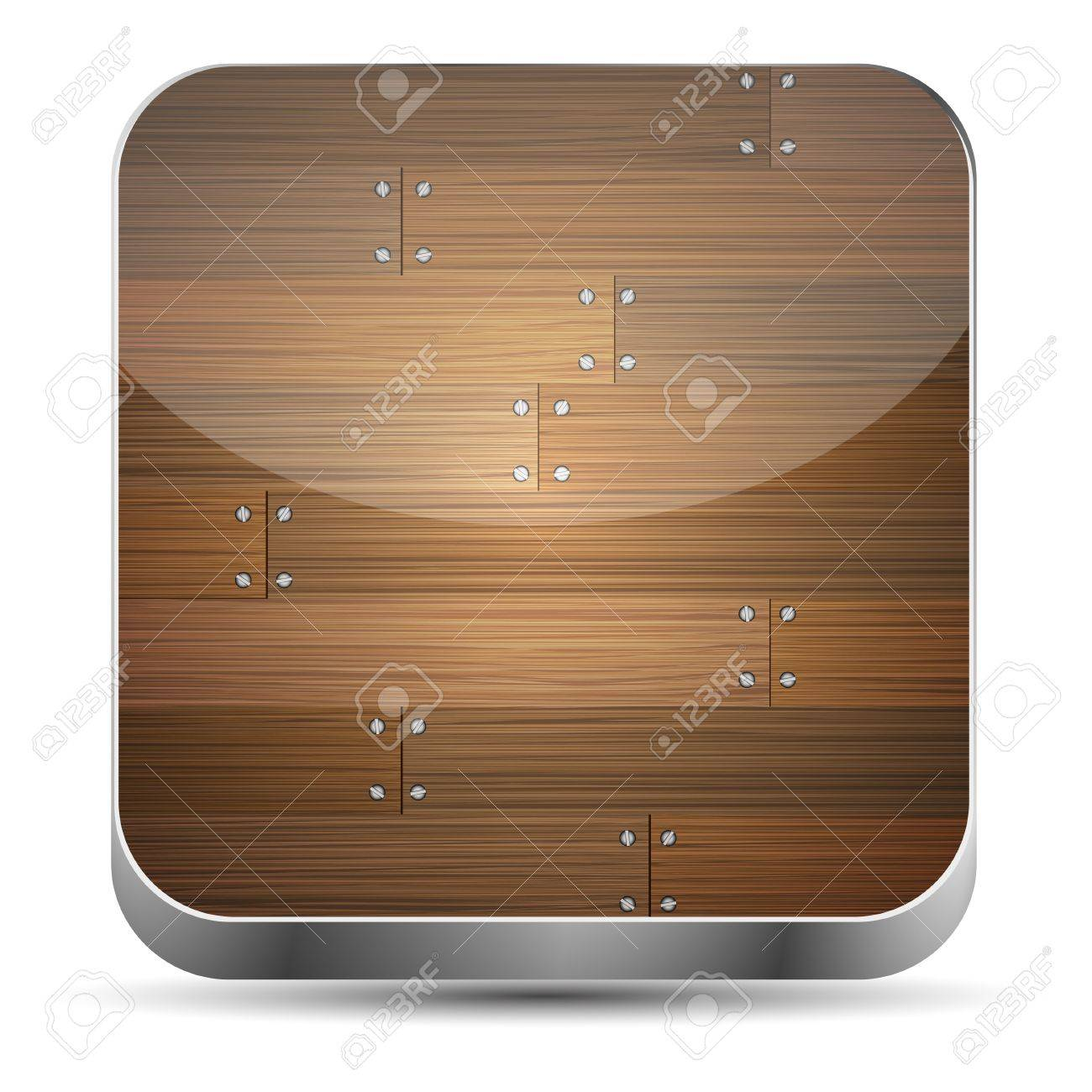 Vector wooden app icon on white background. Eps10 Stock Vector - 15709574