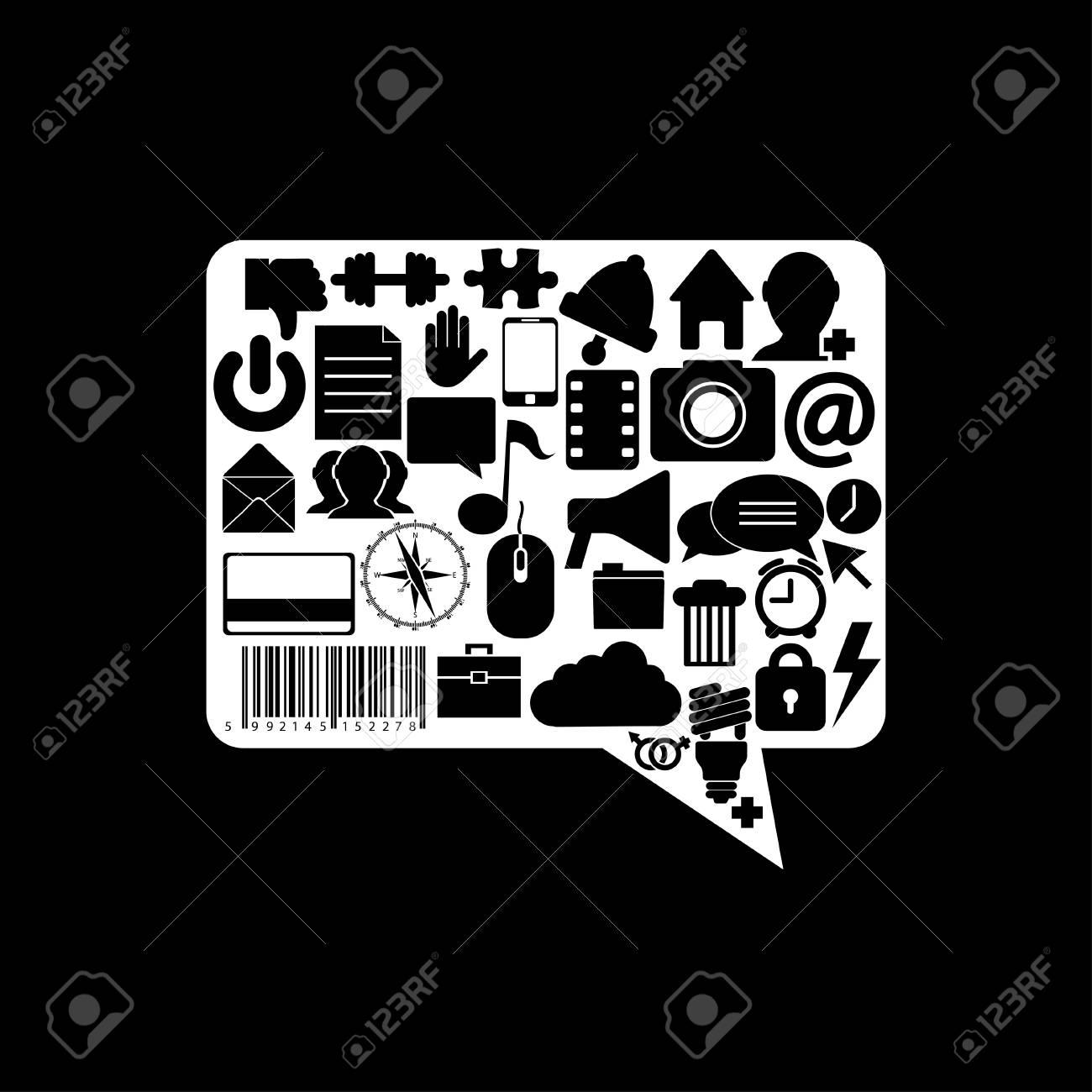Vector bubble speech icon on black background. Eps10 Stock Vector - 16773081