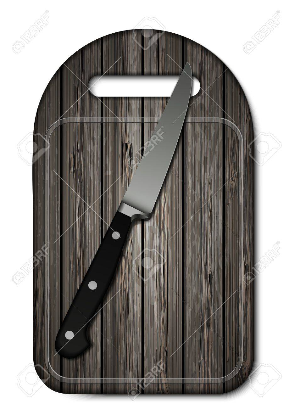Vector wooden cutting board with knife on white background. Eps10 Stock Vector - 16773209