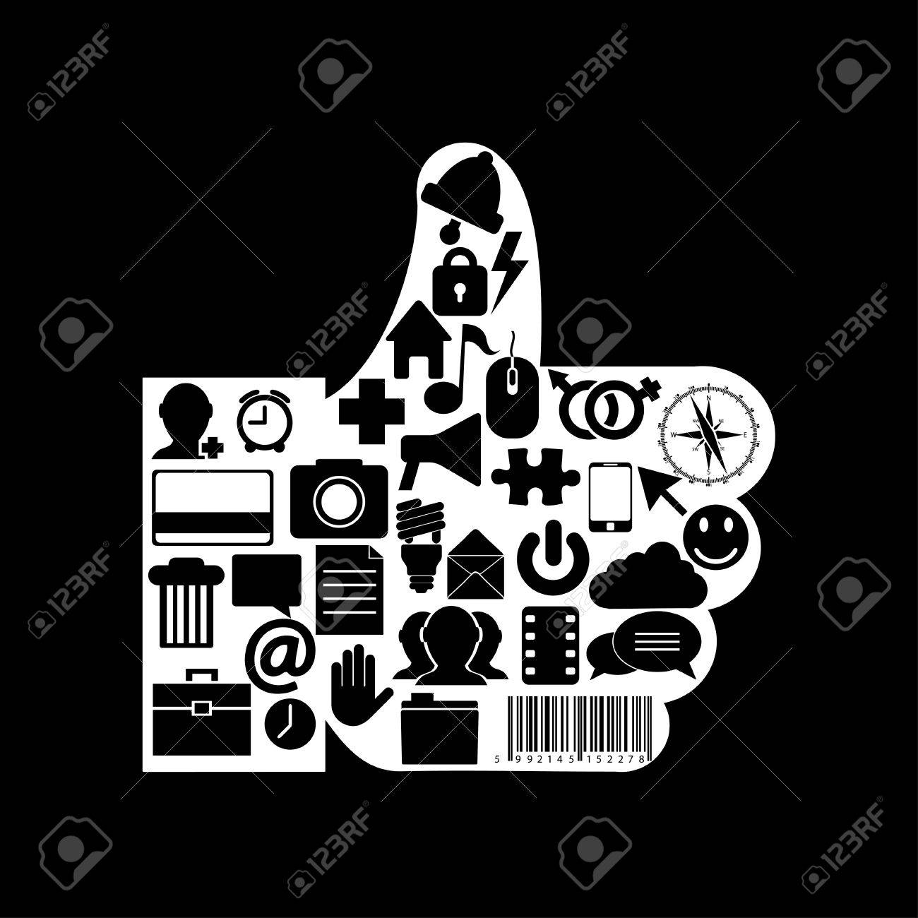 Vector thumb up icon on black background. Eps10 Stock Vector - 16773071