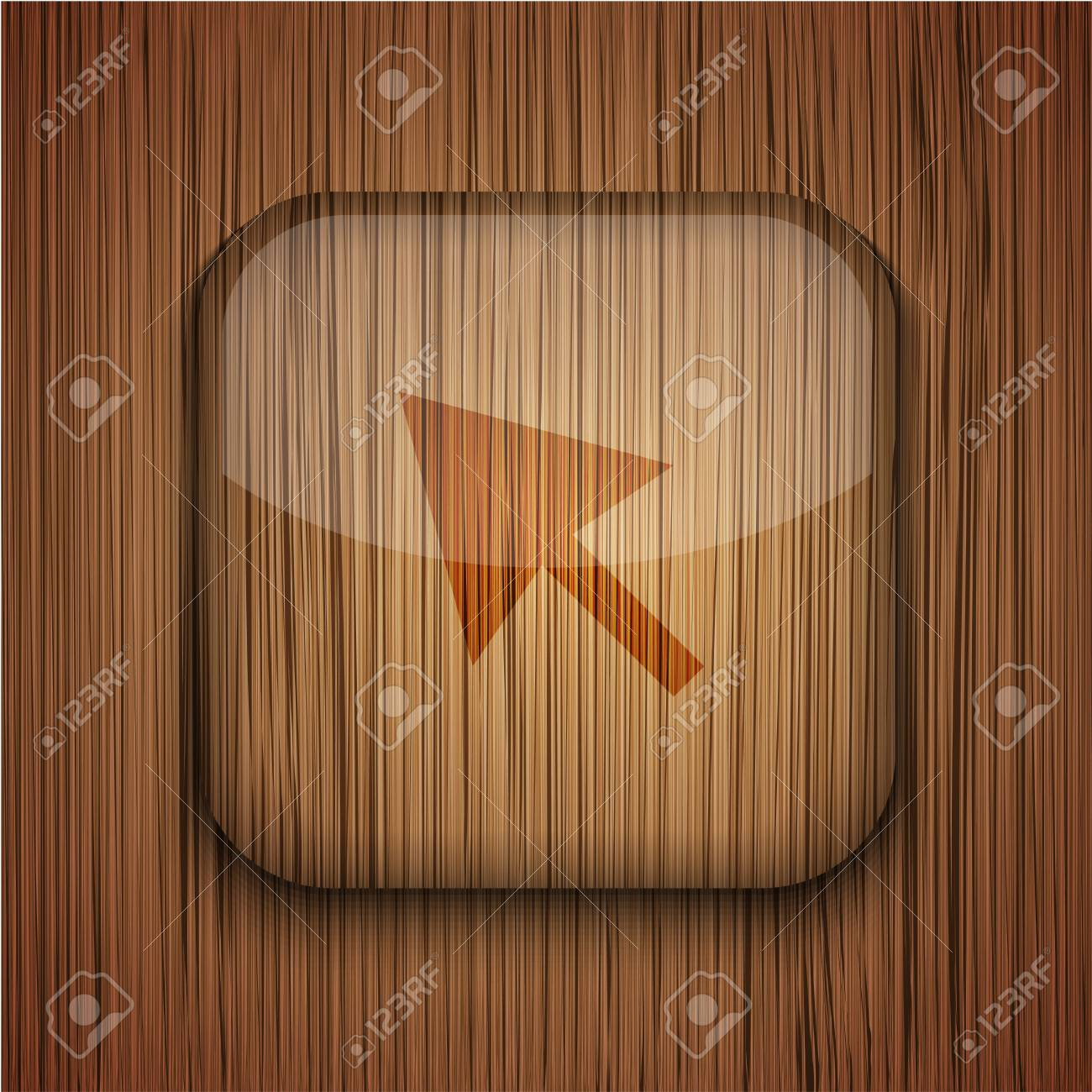 Vector wooden app icon on wooden background. Eps10 Stock Vector - 17660530