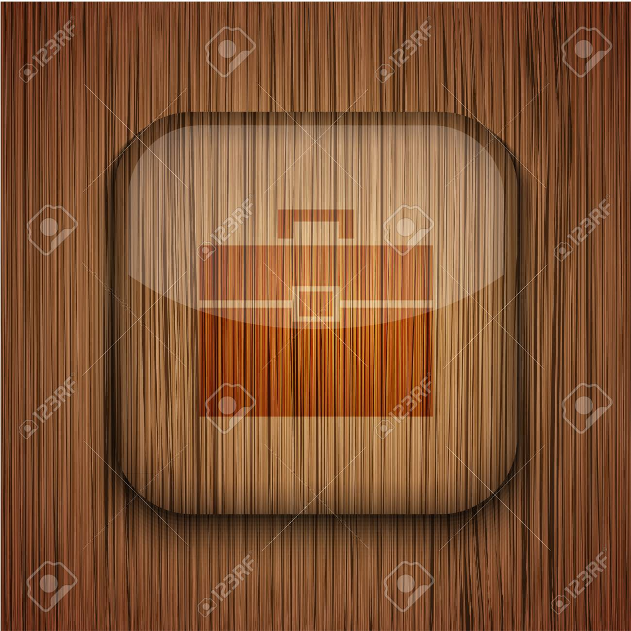 wooden app icon on wooden background. Stock Vector - 17660534
