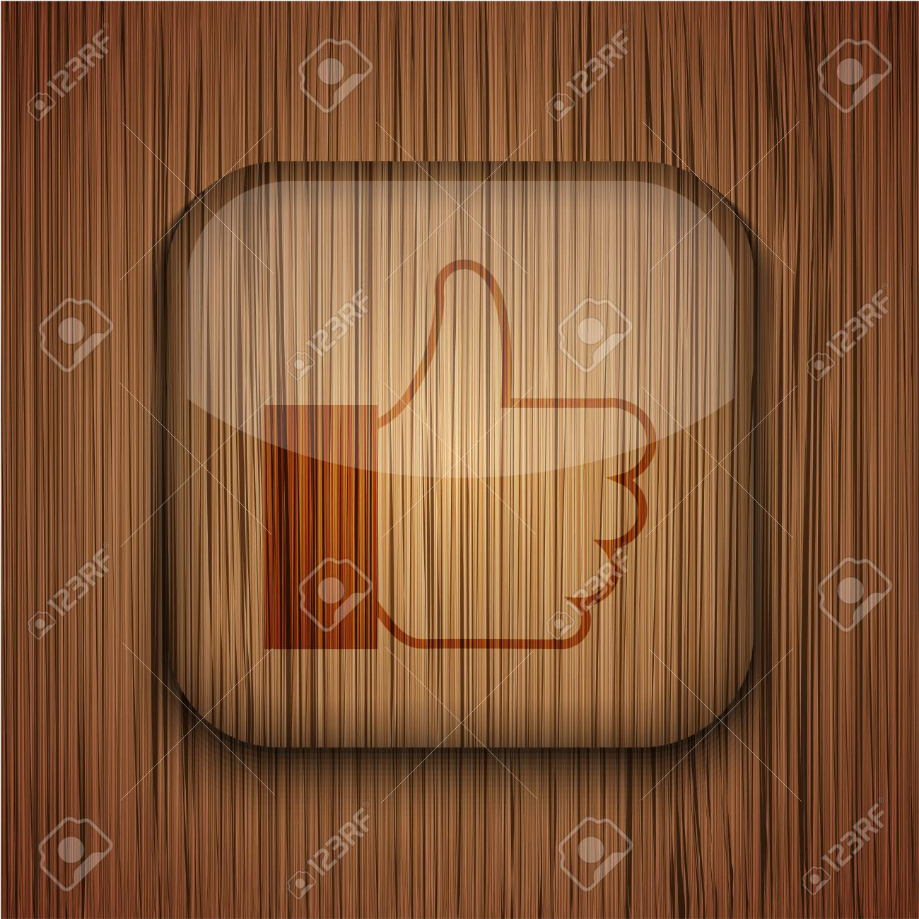 Vector wooden app icon on wooden background. Eps10 Stock Vector - 17660790