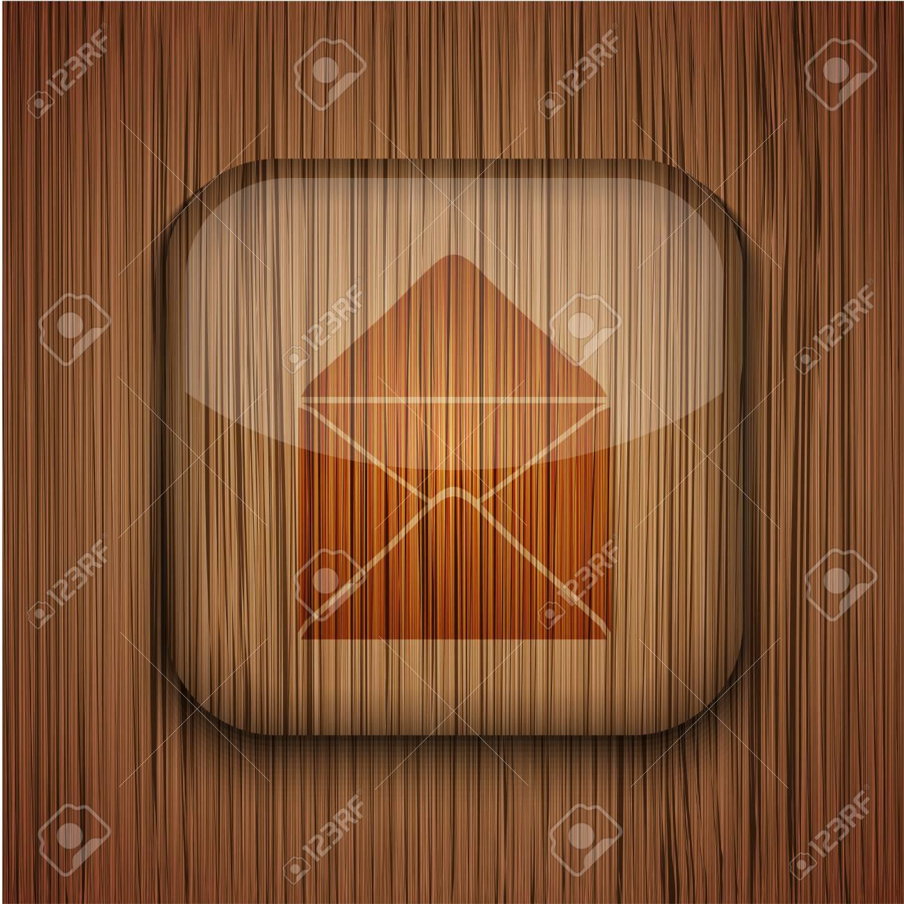 Vector wooden app icon on wooden background. Eps10 Stock Vector - 17660794