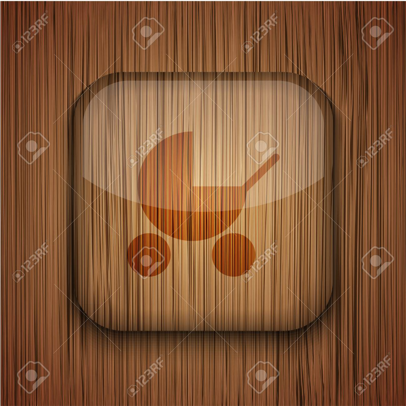 wooden app icon on wooden background. Stock Vector - 17681812