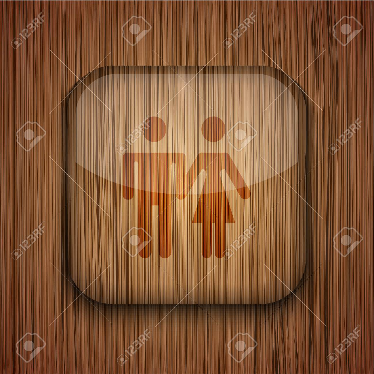 Vector wooden app icon on wooden background. Eps10 Stock Vector - 17681879