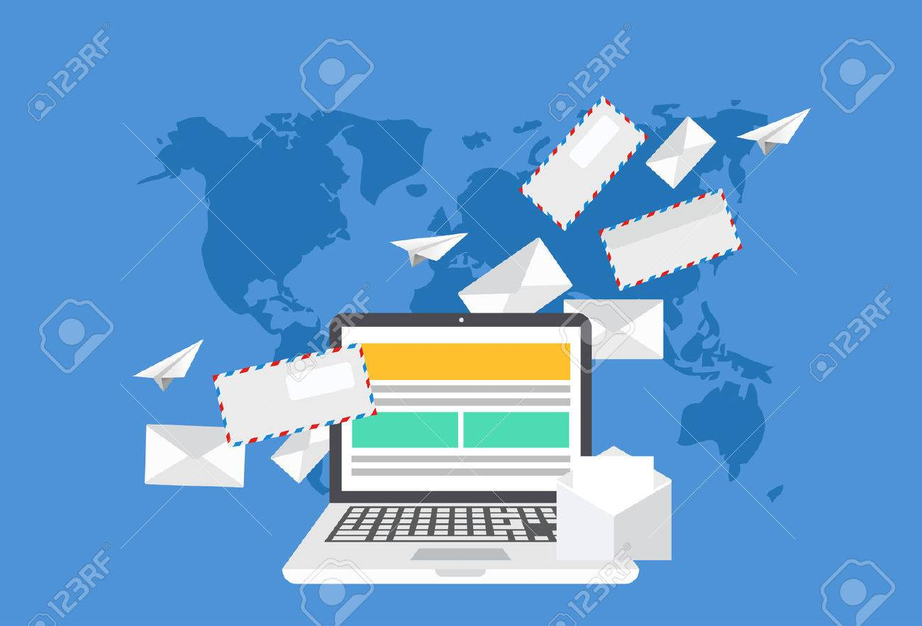 Modern flat design of email marketing laptop with envelope or modern flat design of email marketing laptop with envelope or letters on world map background gumiabroncs Images