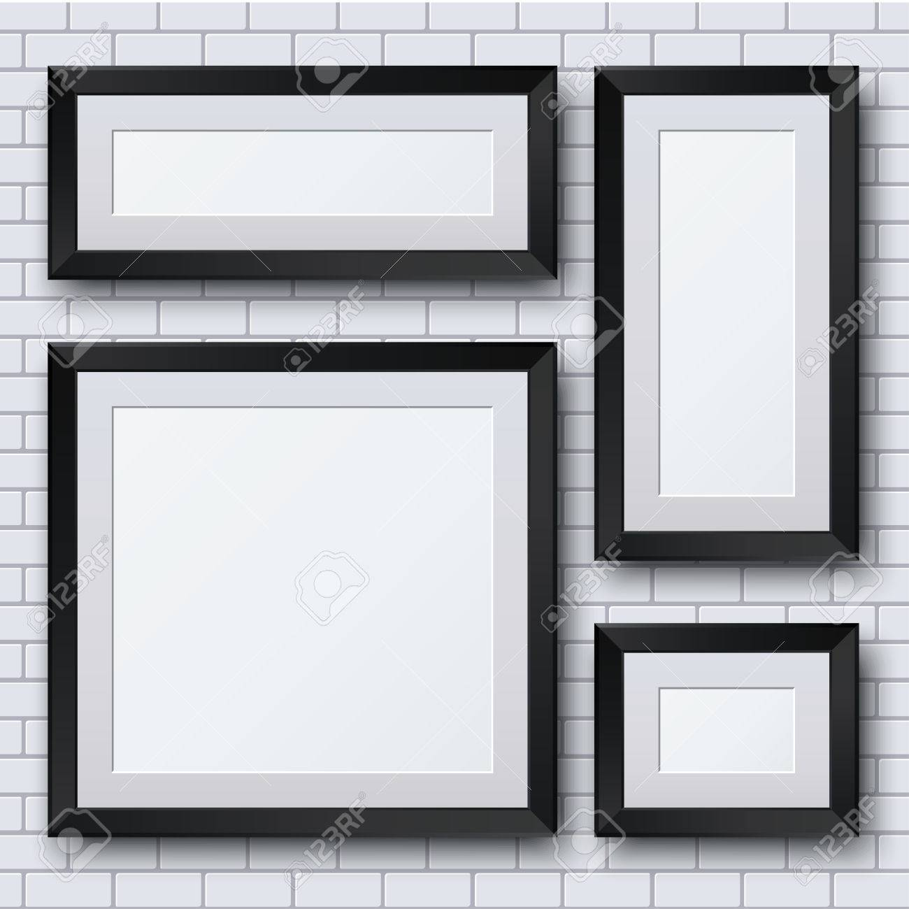 vector vector blank picture frame set on brick wall template background
