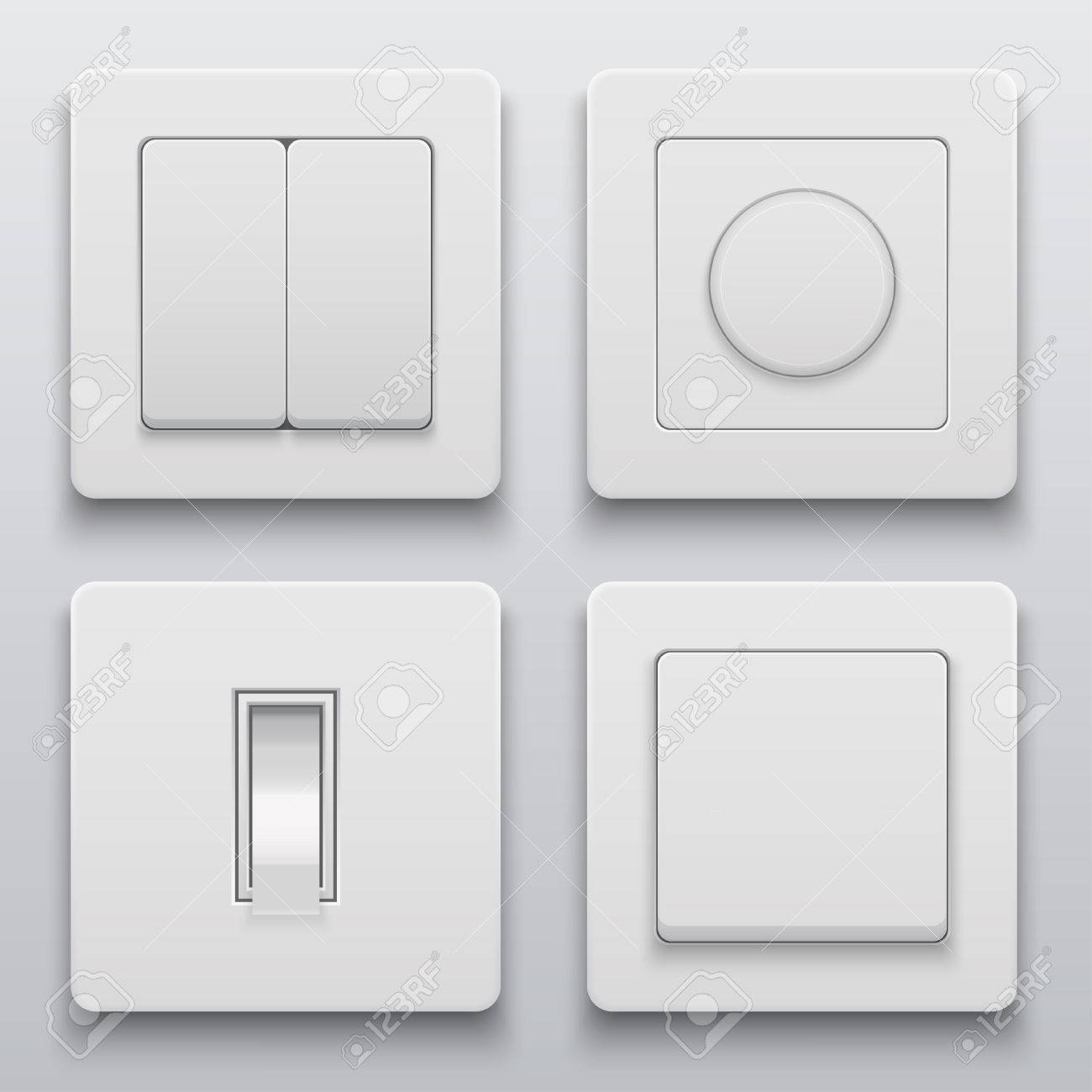 Modern Light Switches >> Vector Modern Light Switch Icons Set On Light Background