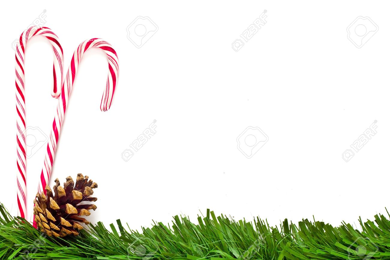 Christmas Template With Candy Canes, Pine Cone And Green Border ...