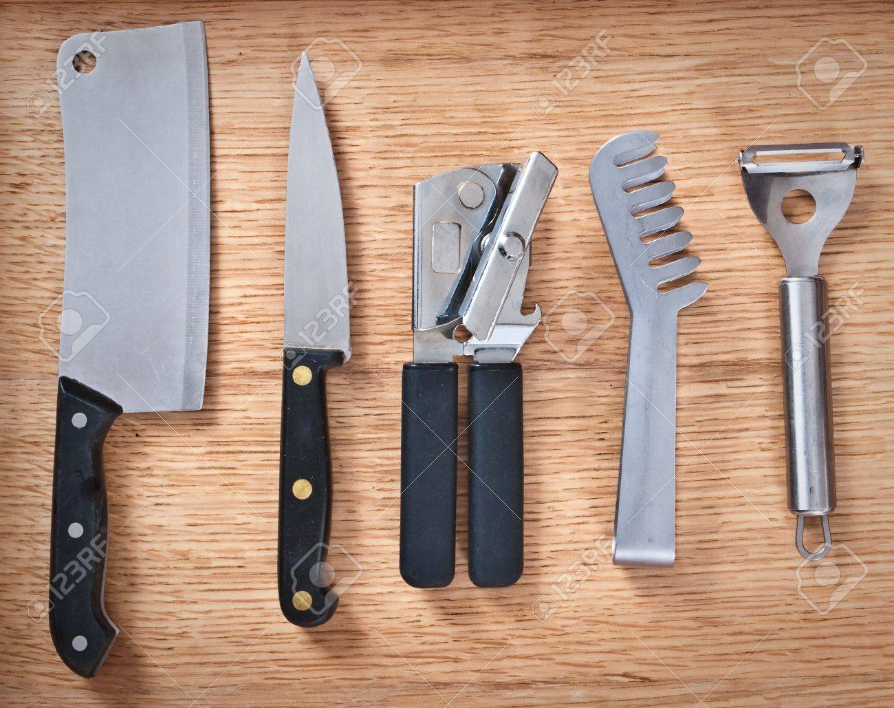 detailed image of various modern kitchen utensils stock photo