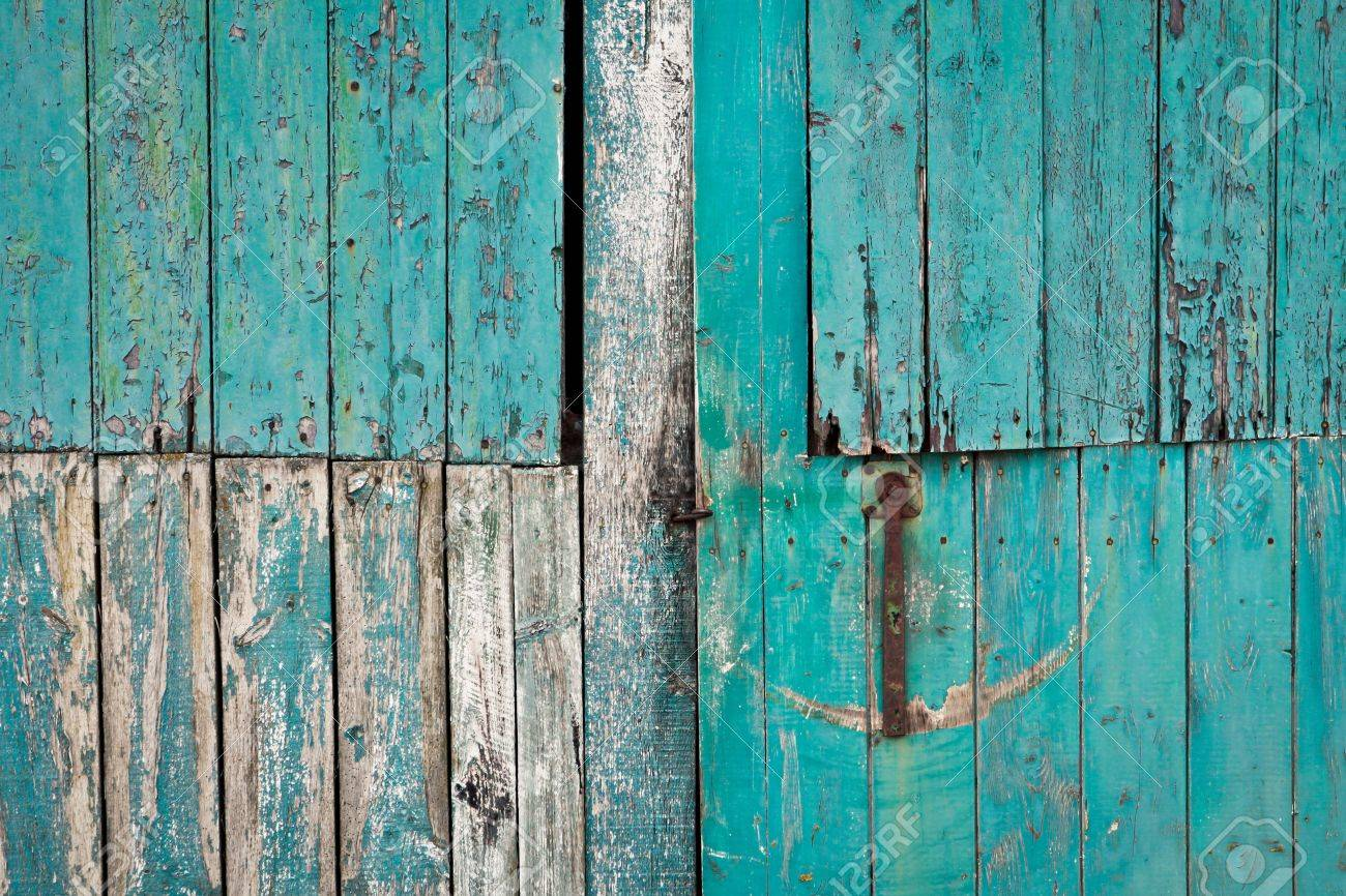 Close Up Of A Weathered Blue Barn Door Stock Photo   20483758