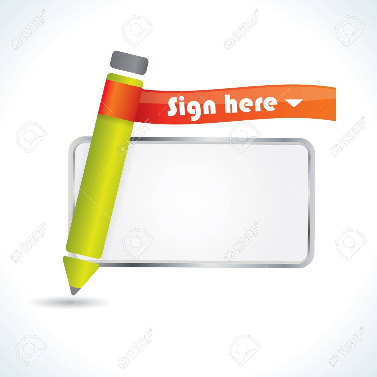 Sign Here Glossy Icon With Pencil And Frame For Signature Royalty ...