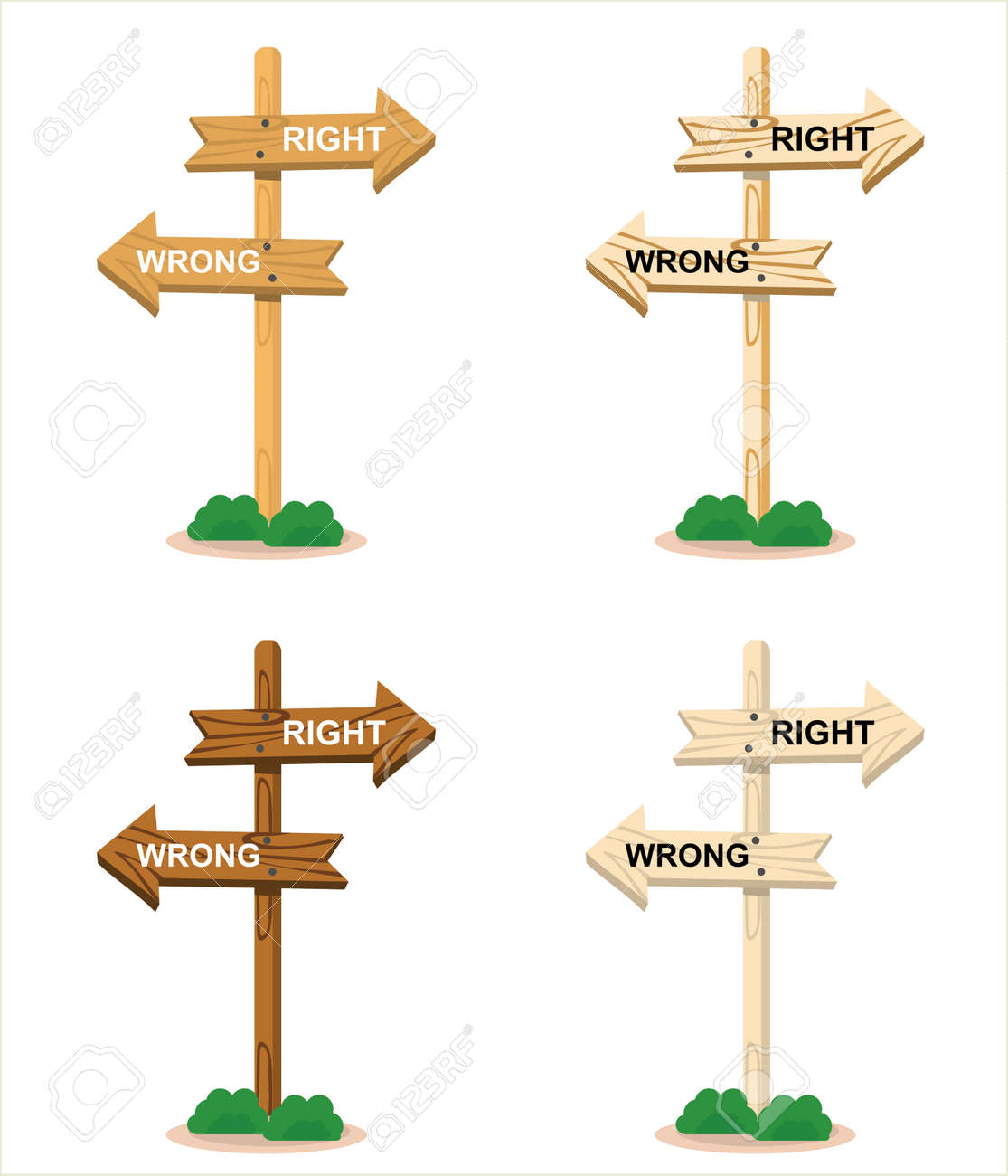 Vector illustration set of wooden directional arrows showing right and wrong directions, logo and icon, holiday and travel themes, perfect for travel advertisements - 166826958