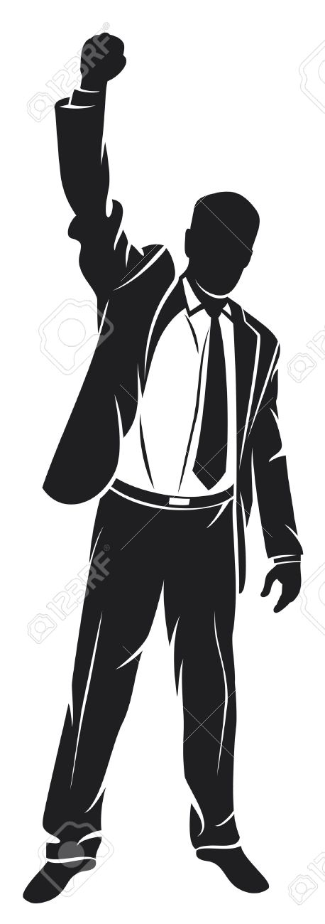 business man with arms up celebrating (successful businessman, happy businessman, business man silhouette with his arms up enjoying his success) Stock Vector - 14836447
