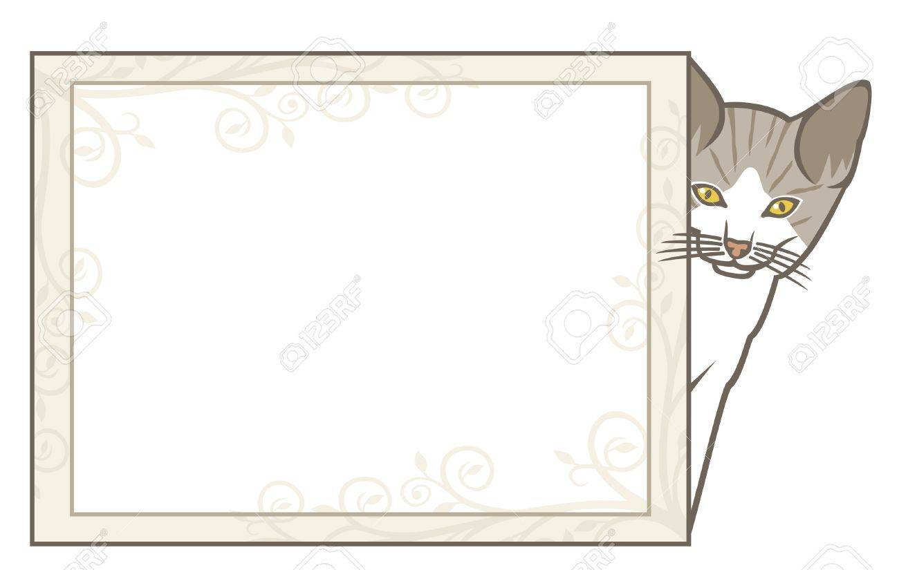 Little Kitten With Frame (vector Frame With Cat, Cat With Frame ...