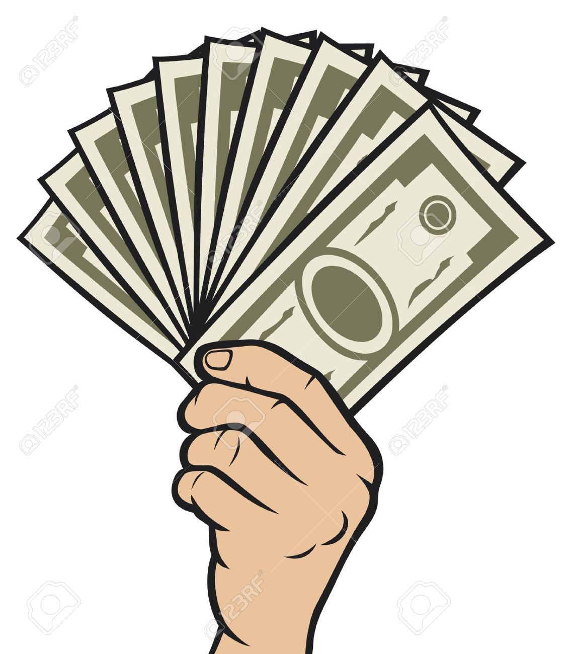 Money in the hand (Hand with money, Hand holding Banknotes ) Stock Vector - 14836291