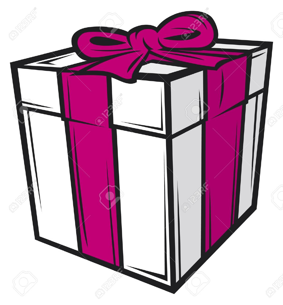 white gift box with pink ribbon Stock Vector - 14836444