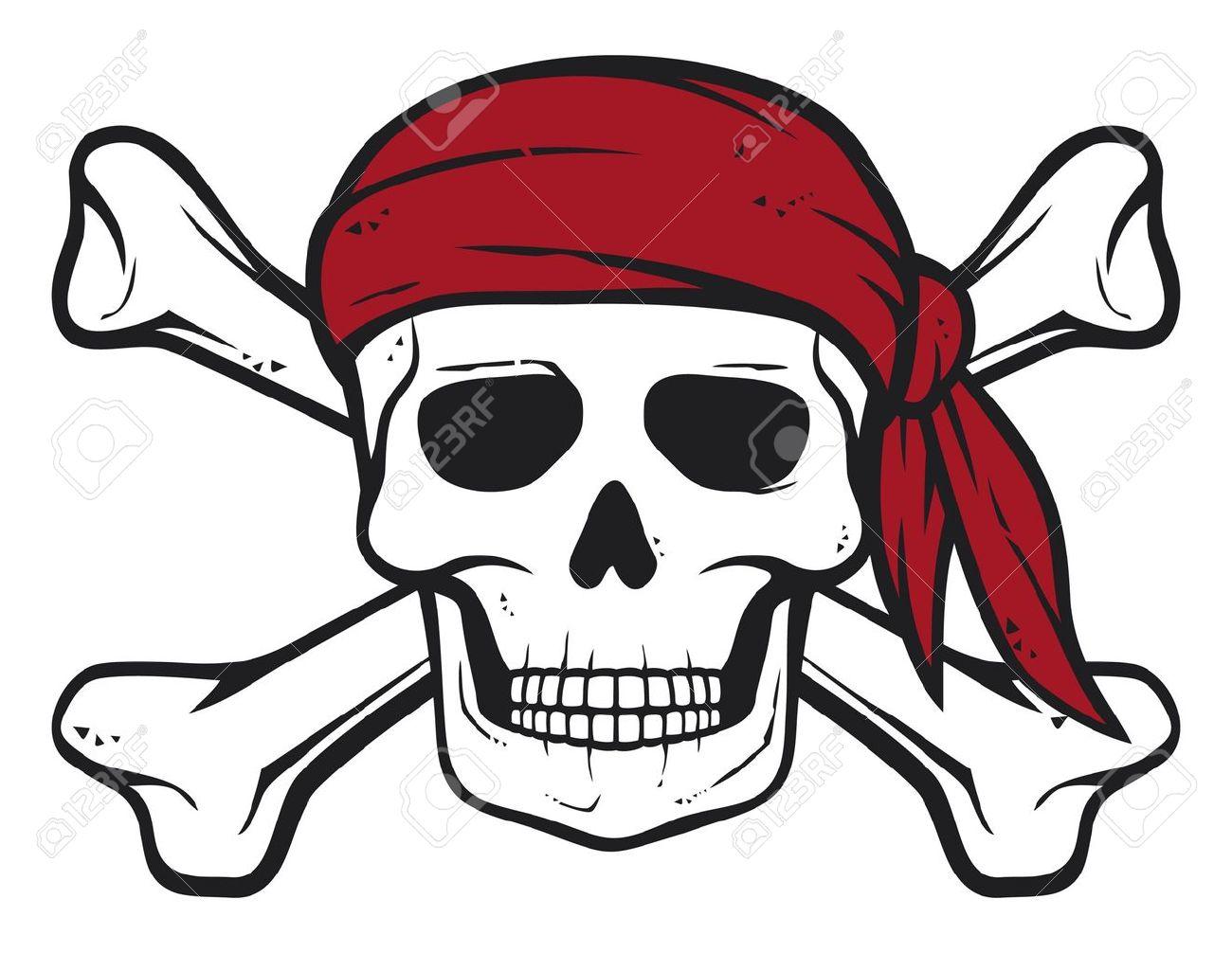 Pirata Cráneo Pañuelo Rojo Y Huesos Huesos Piratas Símbolo Cráneo