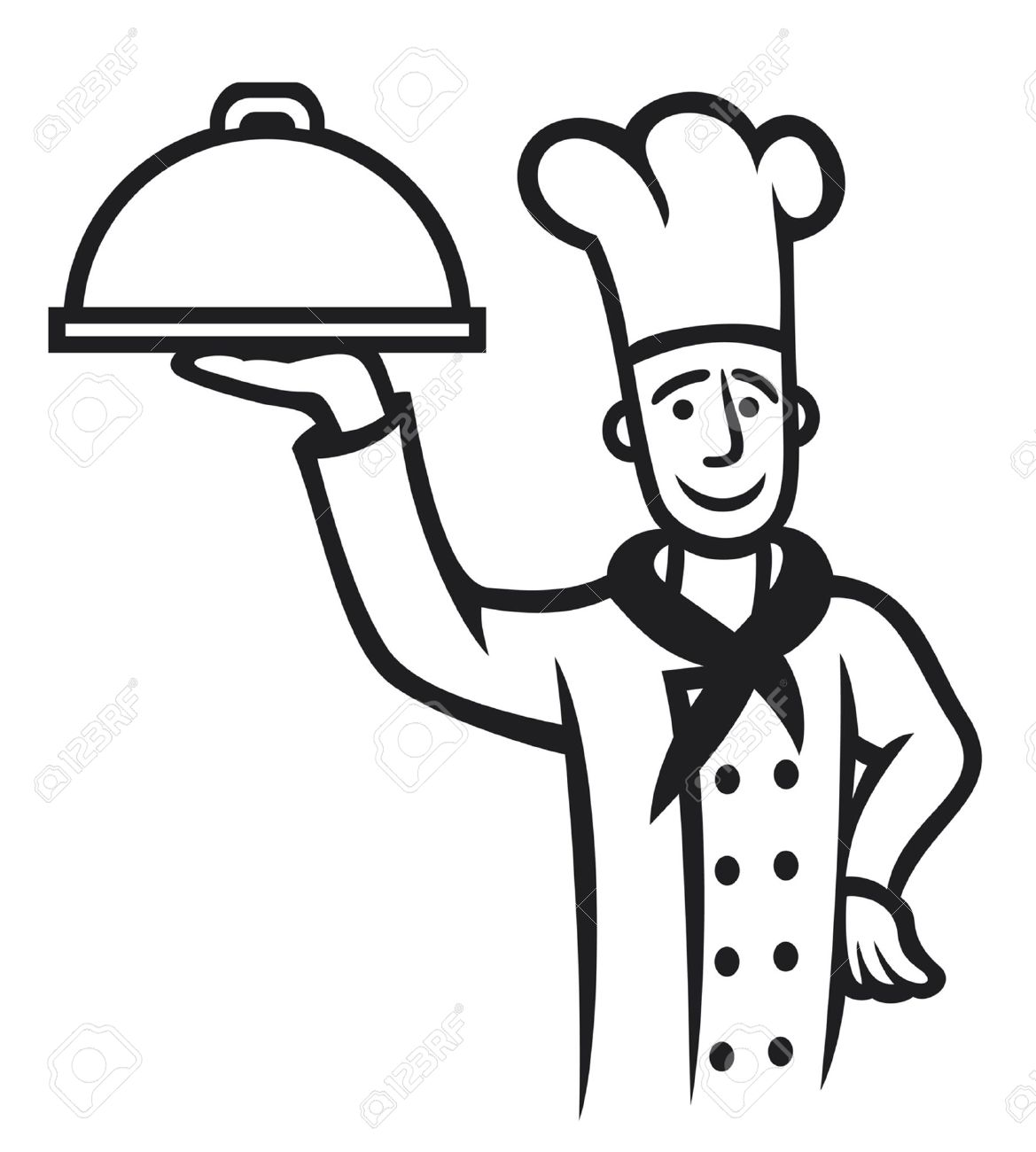chef with plate chief cook royalty free cliparts vectors and stock