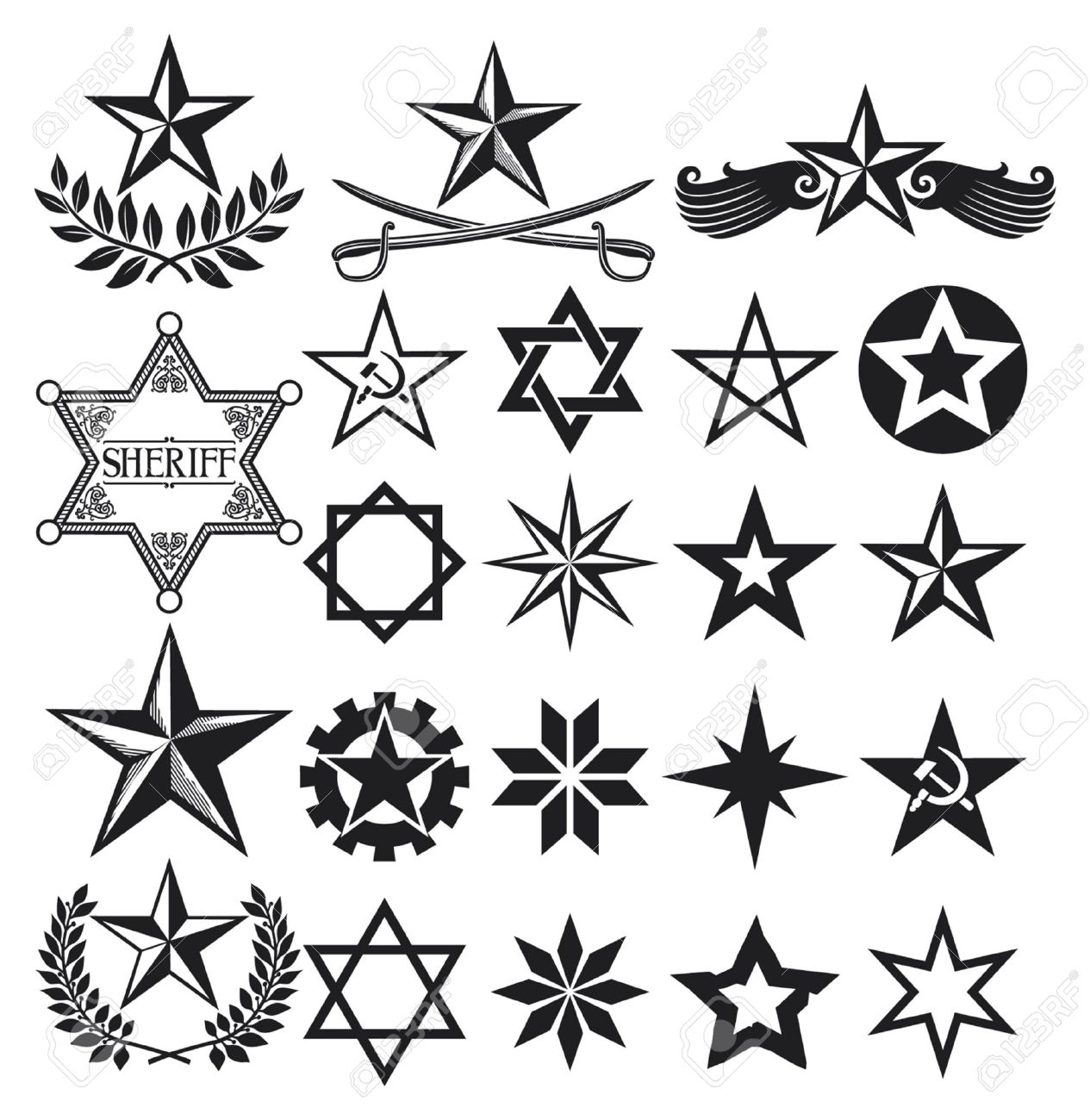Set Of Stars Stars Collection Royalty Free Cliparts Vectors And