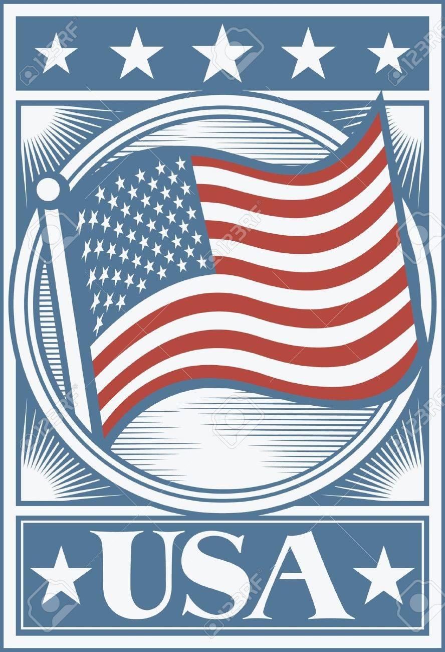 american flag poster usa flag poster usa design stock vector 15039355