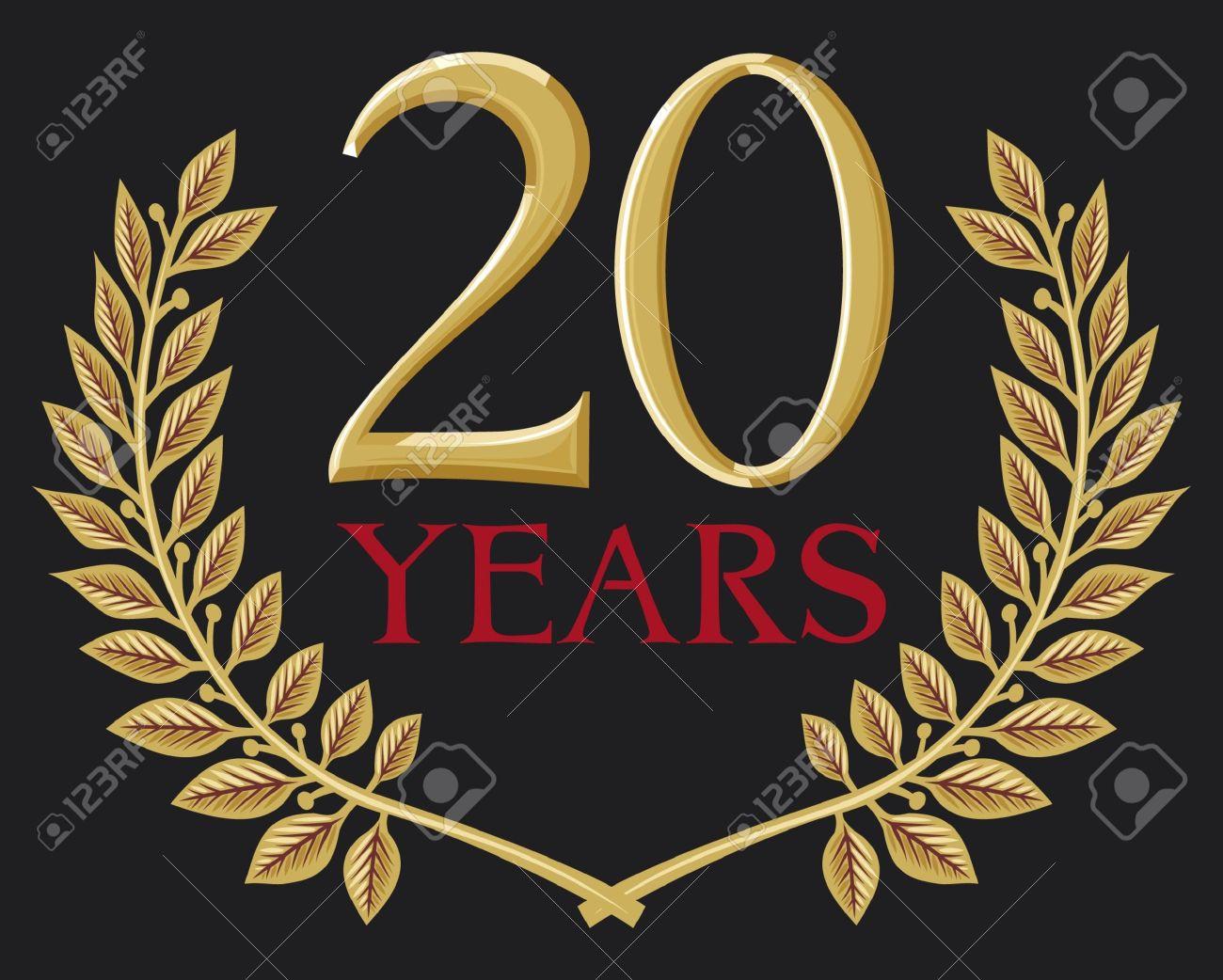 illustration of a golden laurel wreath - 20 years Stock Vector - 15039361