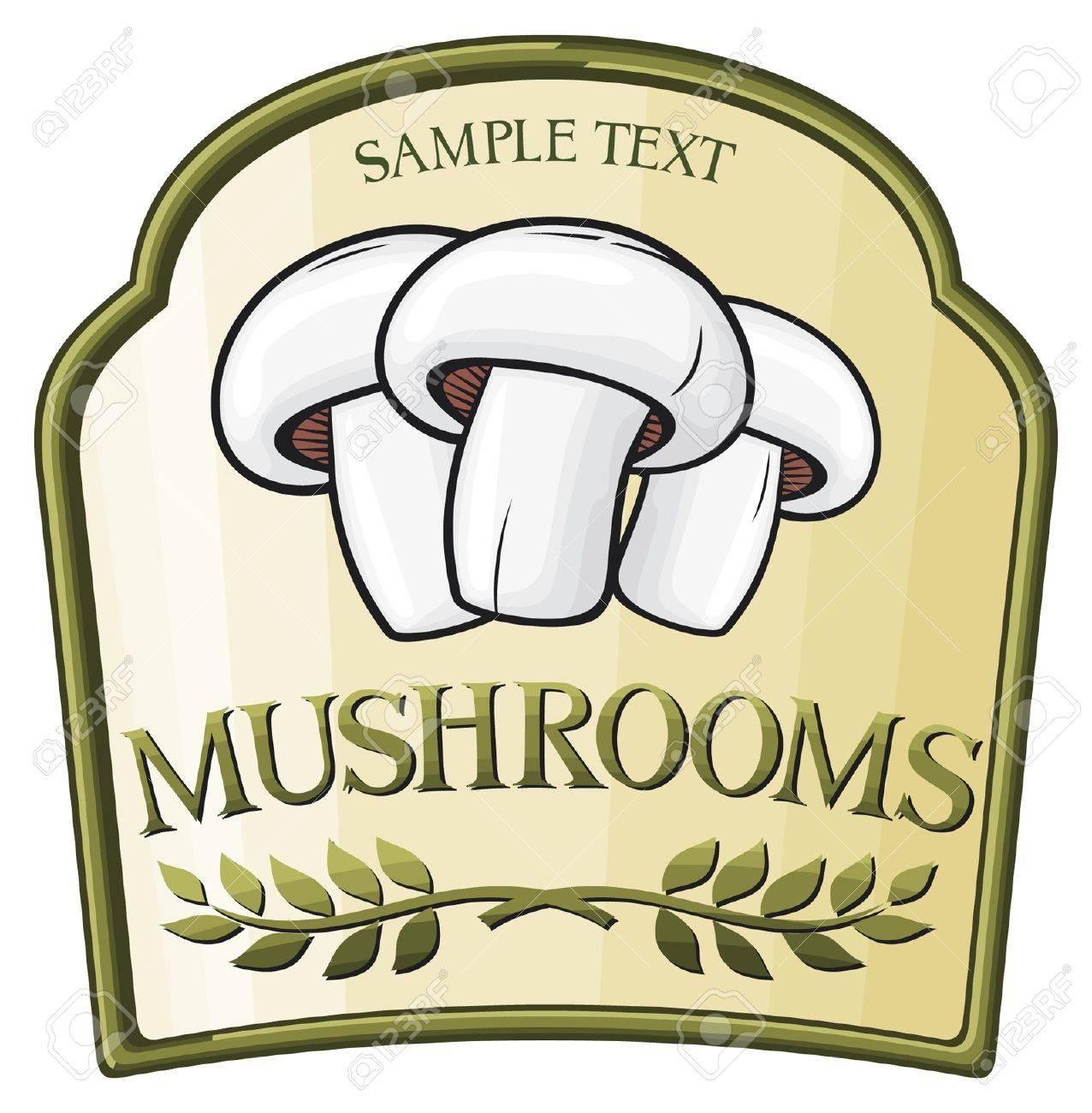 mushroom label design Stock Vector - 15039376