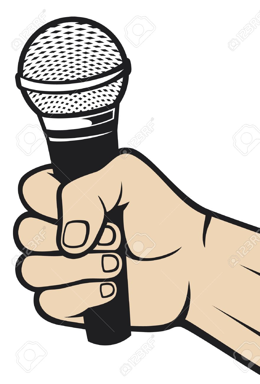 hand holding a microphone  hand with a microphone Stock Vector - 15039841