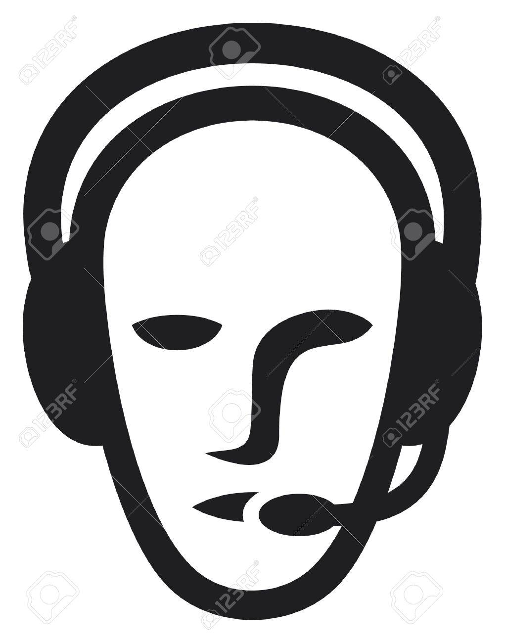 headset symbol  man headset, call center icon, face with headset, support phone operator in headset, man customer support Stock Vector - 15140669