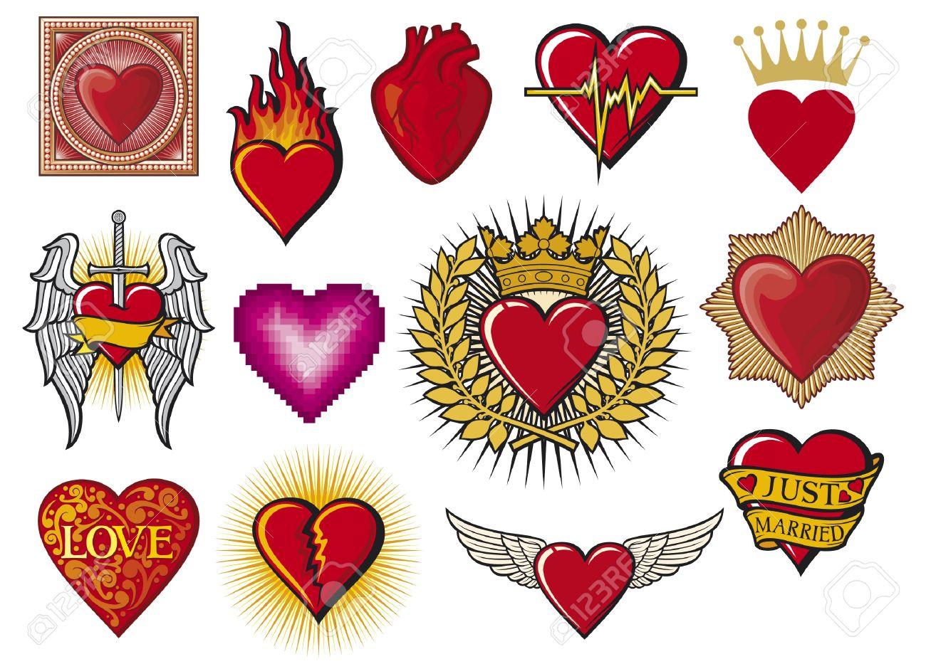 Corazón Corazones Conjunto De Recopilación Ardiente Corazón El
