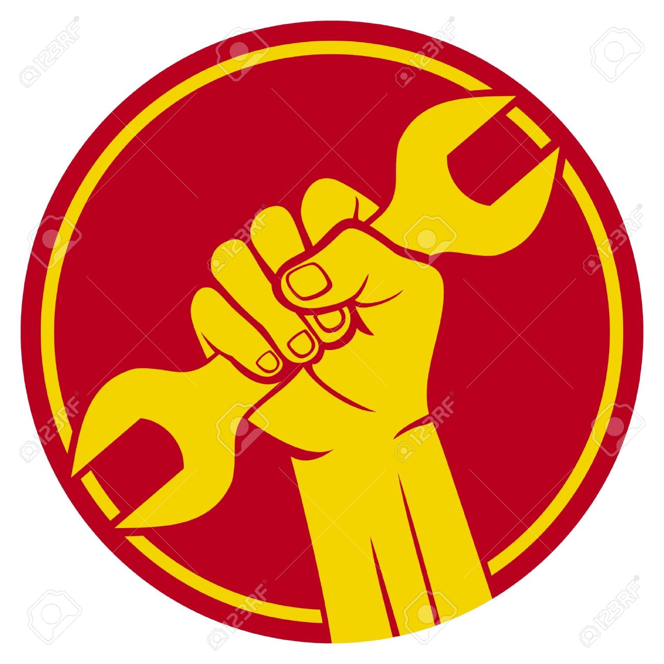 worker sign fist and wrench - 15227317