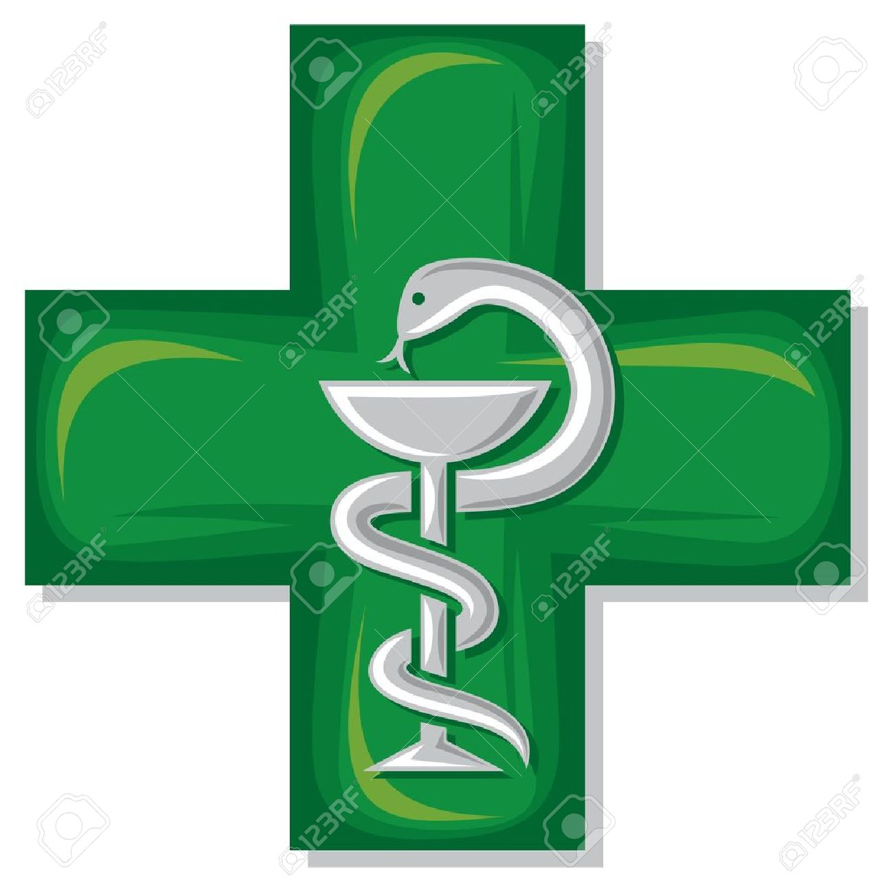 Medical Cross Symbol Emblem For Drugstore Or Medicine Green Medical