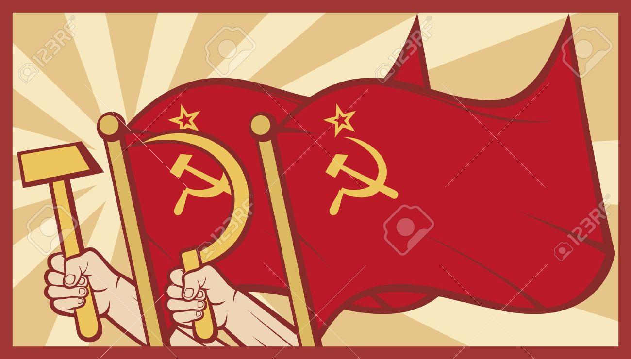 soviet flag poster  ussr Stock Vector - 15561140