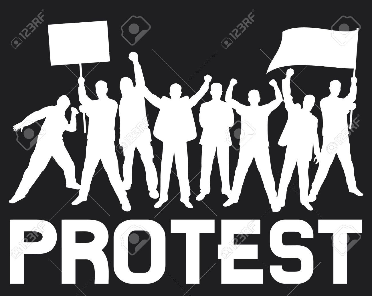 lots of furious people protesting (a group of people protesting, protest, demonstrator, protest man, demonstrations, protest, demonstrator, hooligan, fan, protest design, protest poster) Stock Vector - 15575593