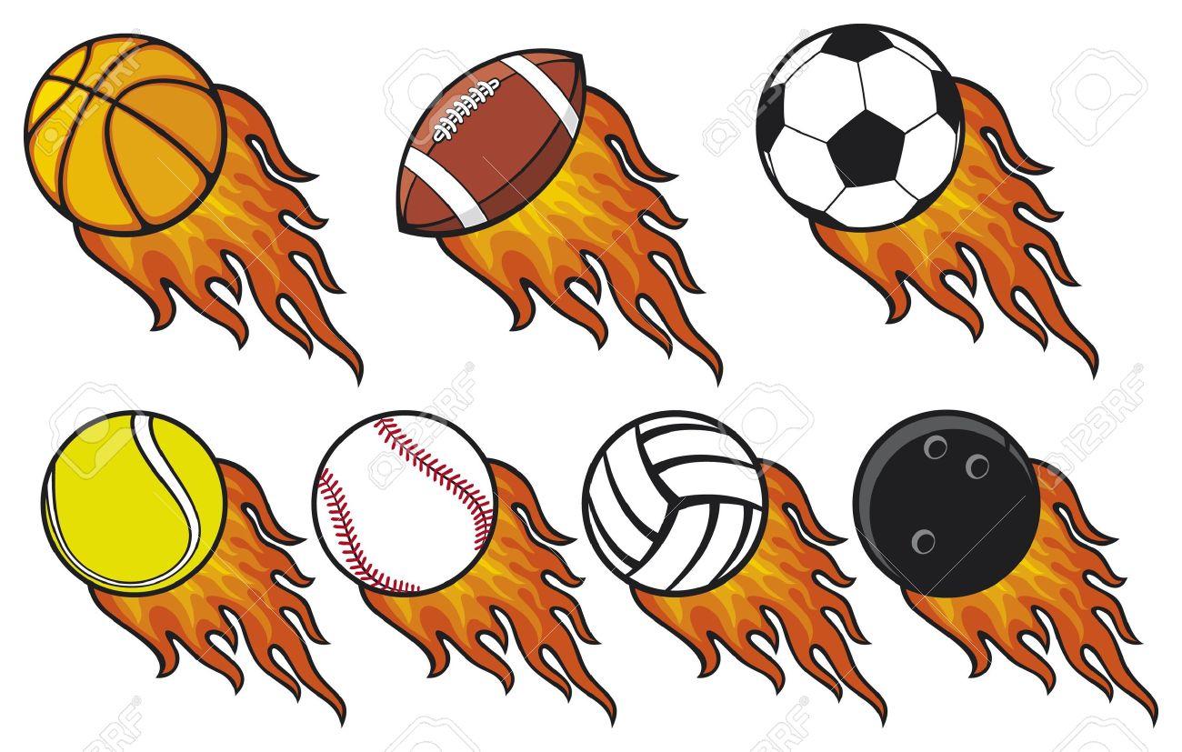 fire ball collection -  tennis ball, american football ball, football ball  soccer ball , volleyball ball, basketball ball, baseball ball, bowling ball Stock Vector - 15639844