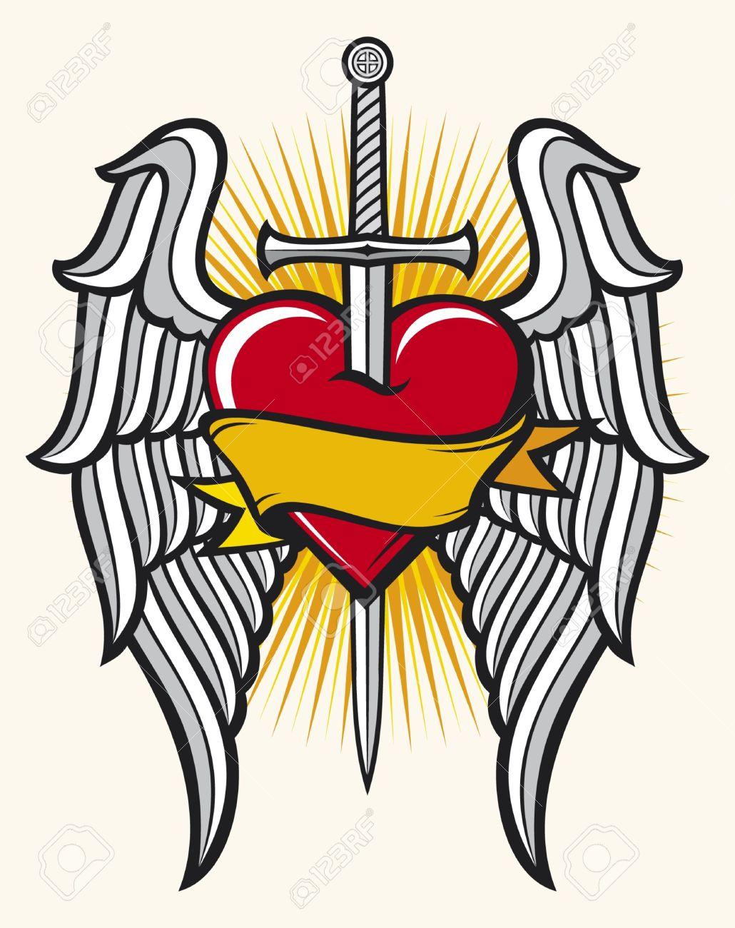 Corazón La Espada Y Las Alas Ilustraciones Vectoriales Clip Art