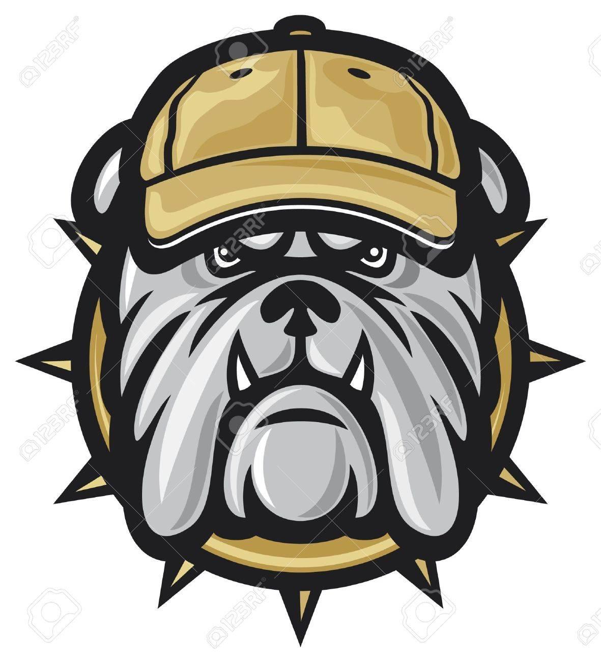 dog head and baseball cap