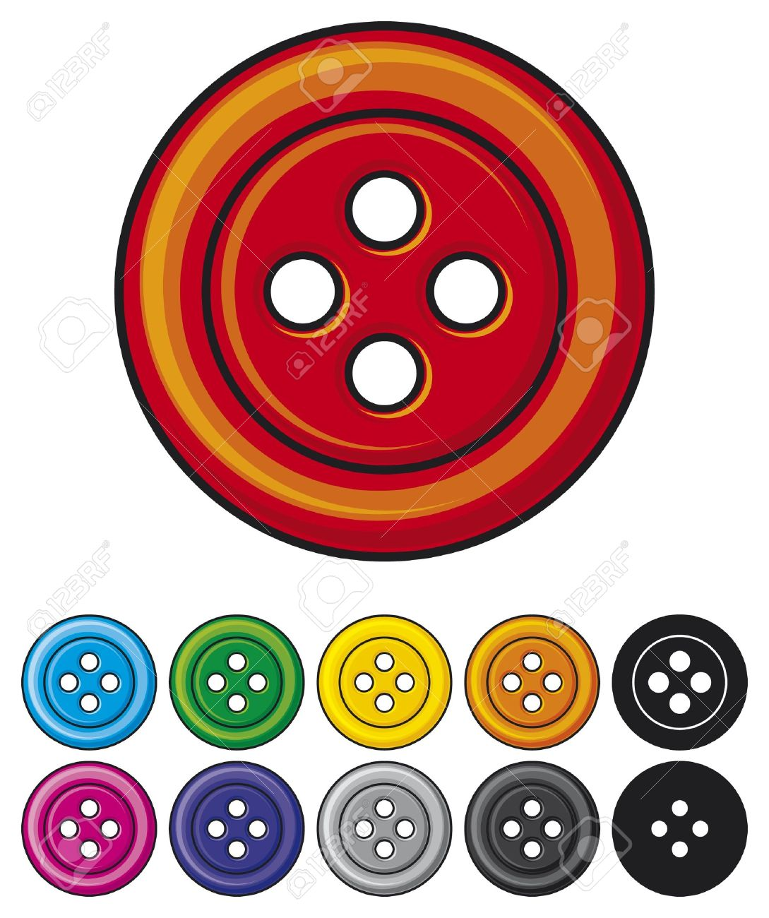 set of sewing buttons  colored sewing button collection Stock Vector - 15686844