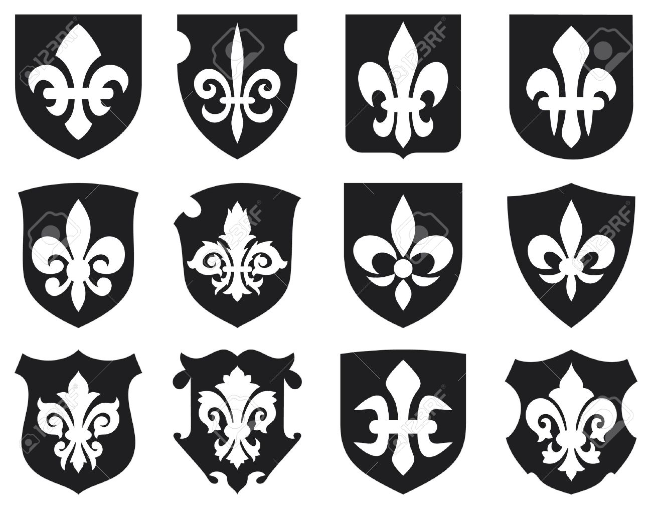 lily flower - heraldic symbol fleur de lis and medieval shields  royal french lily symbols for design and decorate, lily flowers collection, lily flowers set, shields set Stock Vector - 15686820