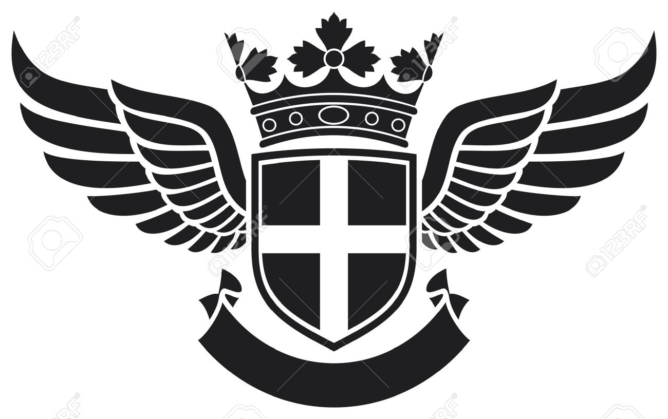 Coat Of Arms Shield Crown And Wings Tattoo Tattoo Design