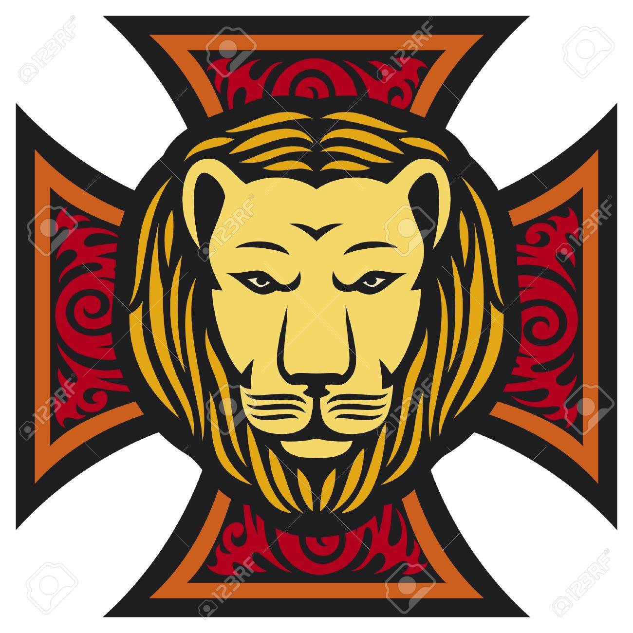 lion head and iron cross in tattoo style (tribal style) Stock Vector - 15686864