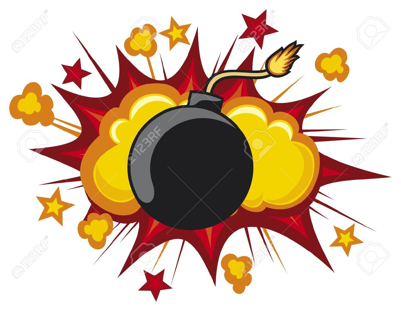 old bomb starting to explode (comic book explosion) old style bomb Stock Vector - 15686858