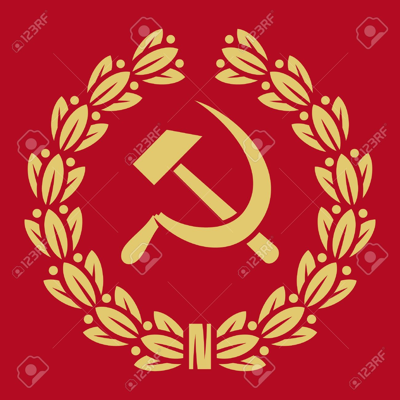 Symbol Of Ussr Hammer Sickle And Laurel Wreath Ussr Sign