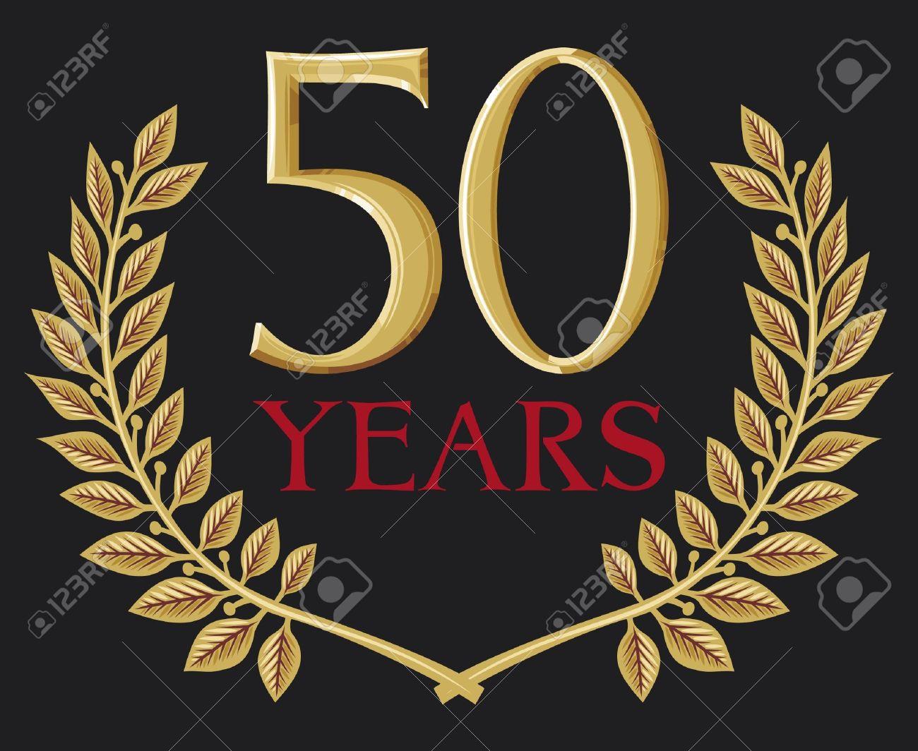 golden laurel wreath 50 years (50 years anniversary, jubilee) Stock Vector - 15932904