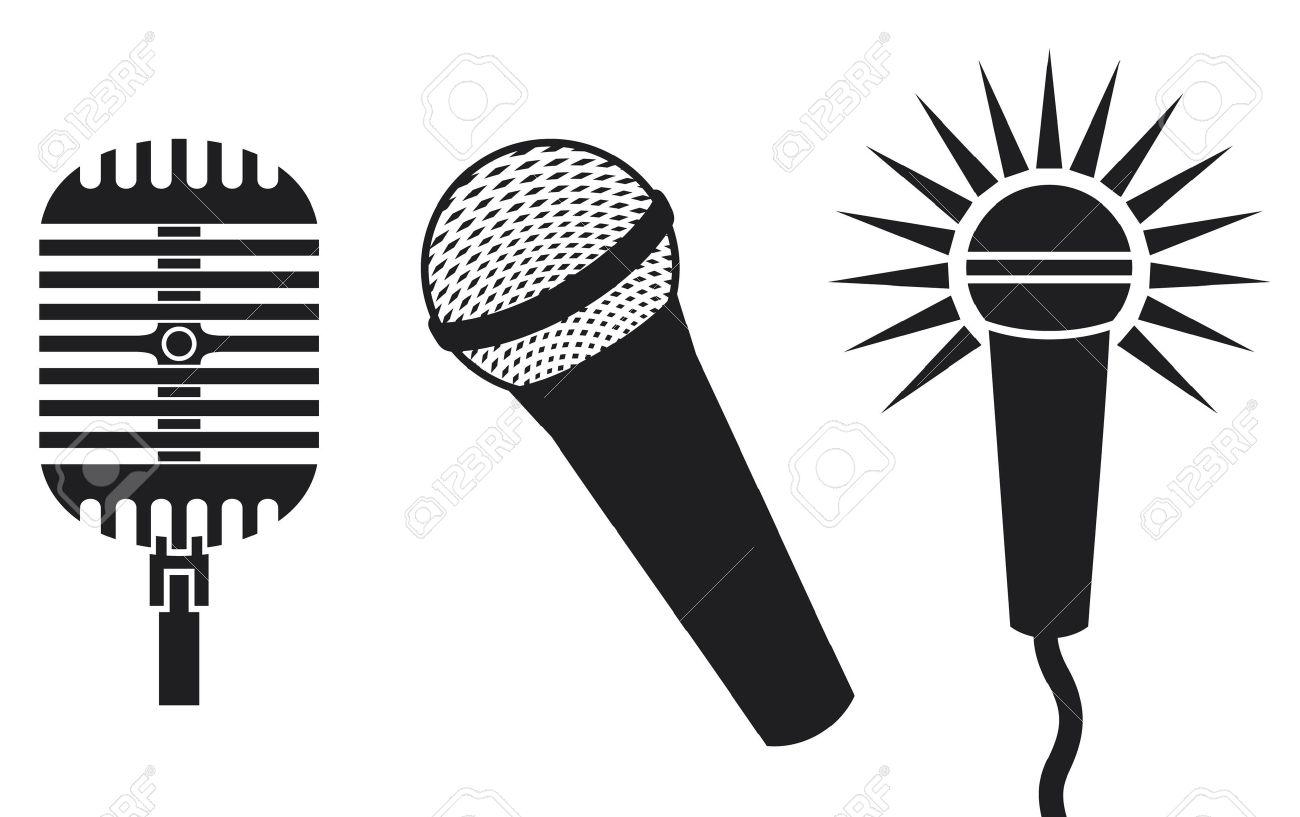 classic microphones symbols microphones icon microphones set