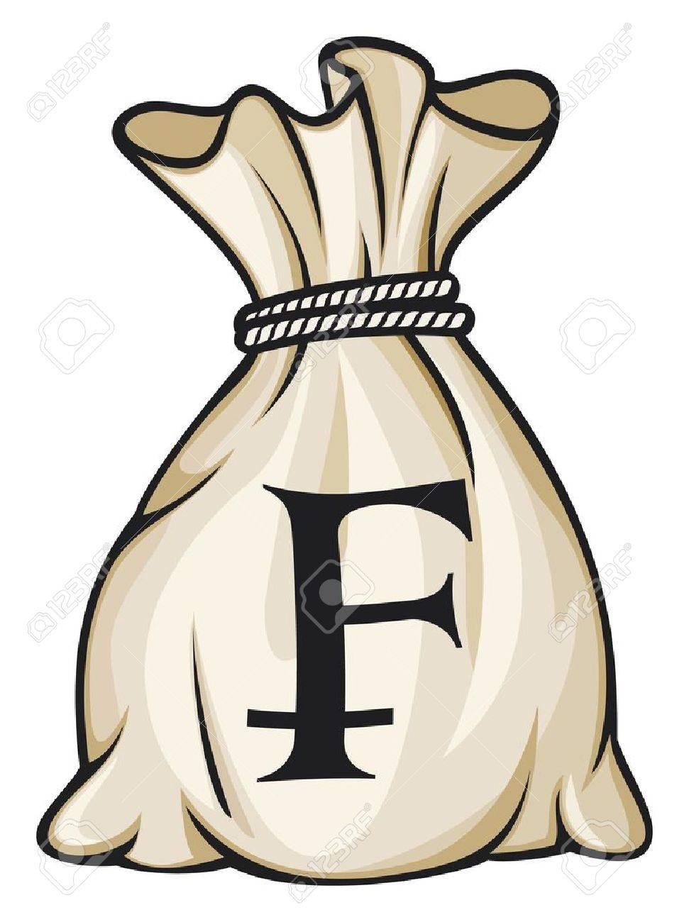 Money Bag with Swiss franc Symbol Stock Vector - 15932845