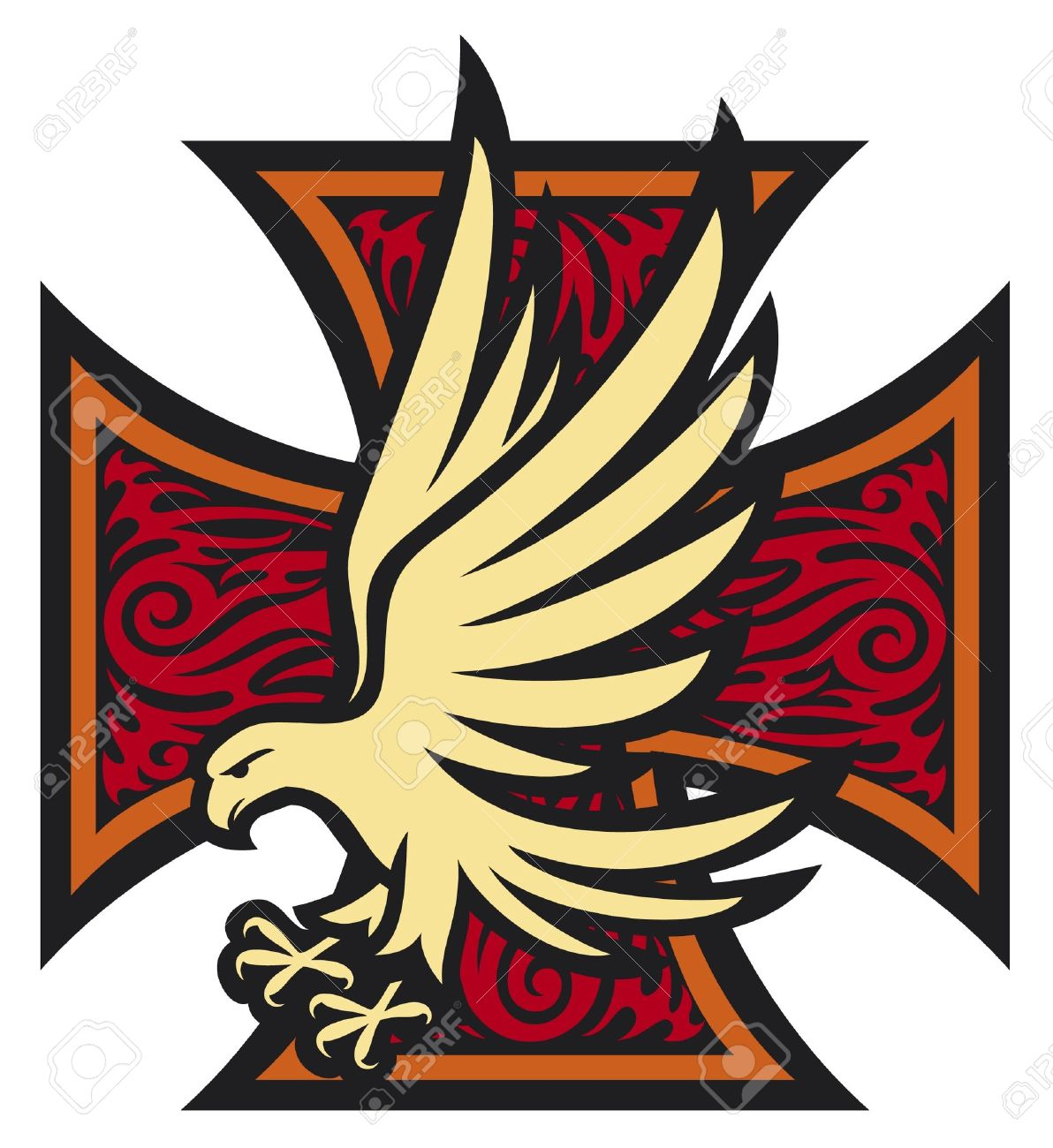 Iron cross in tattoo style and eagle tribal style cross and iron cross in tattoo style and eagle tribal style cross and eagle stock vector publicscrutiny Image collections