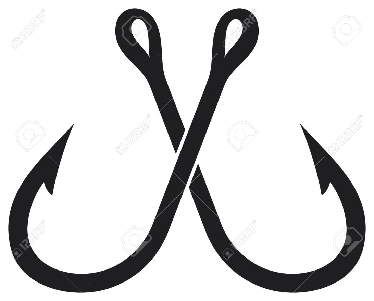 two crossed fishing hook Stock Vector - 15956100